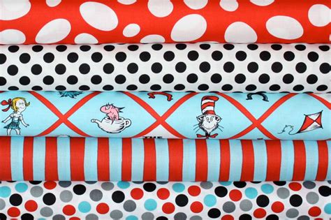 Dr Seuss Cat in the Hat Fabric by Robert Kaufman 1/2 Yard