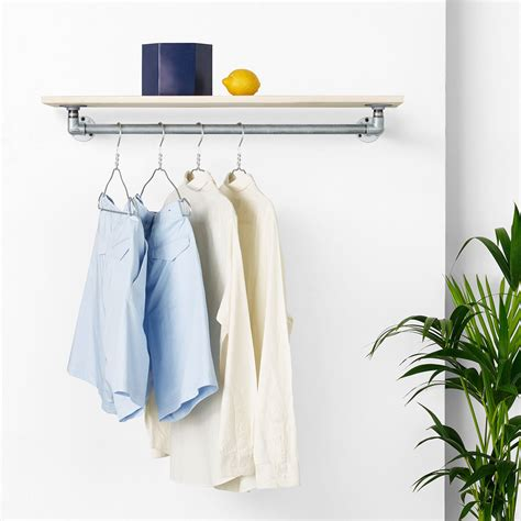 Wall-mounted clothes rail with shelf - RackBuddy Marlow Silver