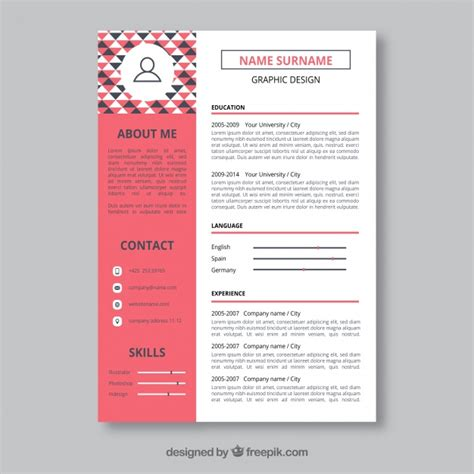 Graphic Design Resume Template Vector - Blog - Today And