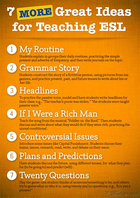 7 MORE Great Ideas For Teaching ESL: Poster
