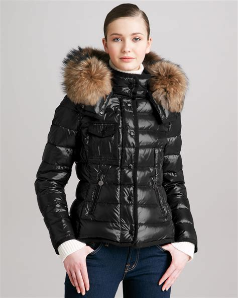 Moncler Short Puffer Jacket with Furtrimmed Hood in White