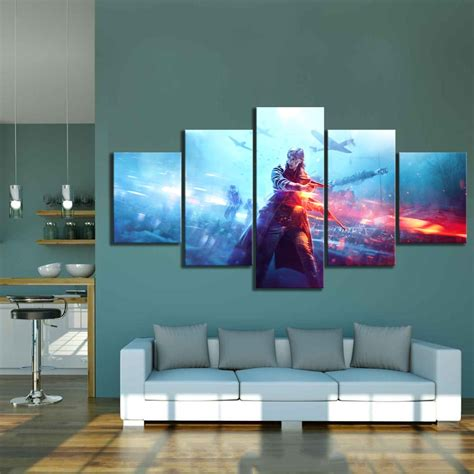 5 Piece Hd Military Poster Battlefield Video Game Canvas