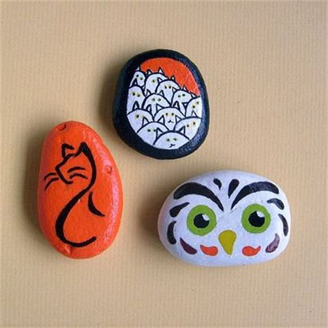 Hand Painted Rocks | Set of 3 Autumn-Themed Painted Stones