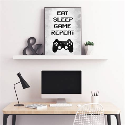 Gaming Wall Art Canvas Painting Picture Eat Sleep Game