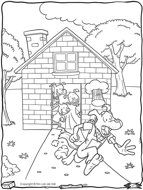 Three-Little-Pigs-Wolf-Running-Coloring-Page - Tim's